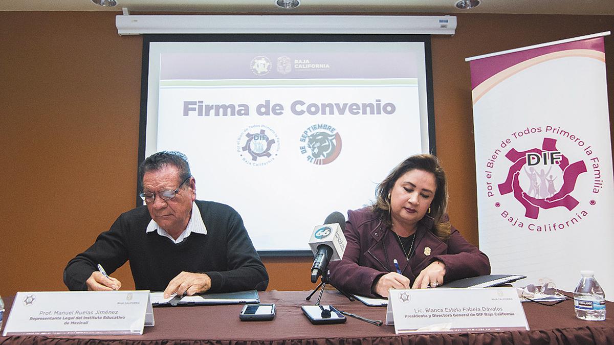 """Convenio de colaboración DIF-BC con Instituto  """"16 de Septiembre"""""""