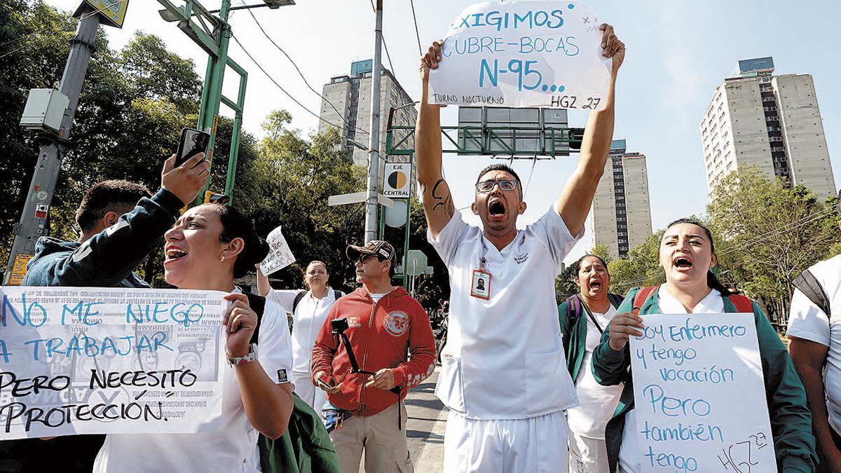 Protestan por falta de equipo médico en hospitales del IMSS